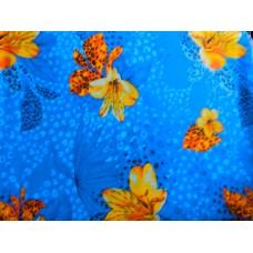 Ситец плательный экзотика синяя